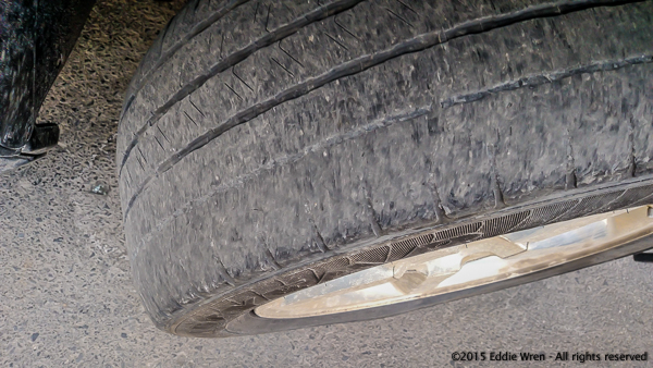 A badly defective and dangerous tire.