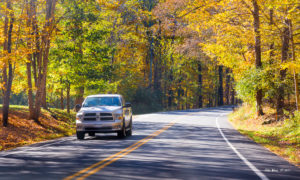 Pick-up truck and autumn colours. Copyright 2017. All rights reserved.