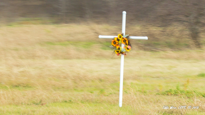 A crash victim's roadside memorial.