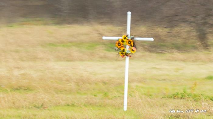 A crash victim's roadside memorial.