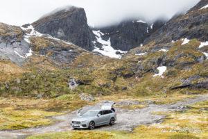 Volvo V90 T8R AWD station wagon / estate car, on the Lofoten Islands, Norway.