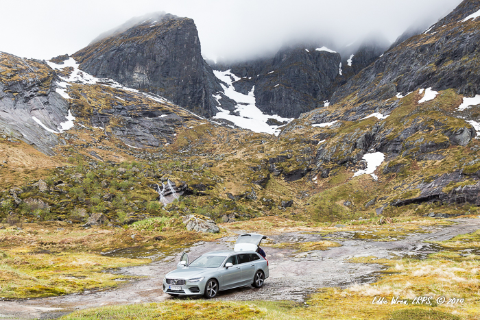 Volvo V90 T8R AWD station wagon / estate car, on the Lofoten Islands, Norway.