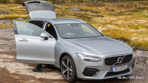 A Volvo V90 T8R AWD station wagon / estate car that we rented from Hertz.