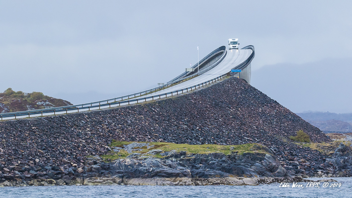 A motorhome / RV / camper van on top of one of the bridges on the Atlantic Road, in Norway.
